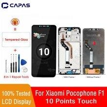 ل شاومي Pocophone F1 LCD عرض الإطار 10 شاشة تعمل باللمس ل شاومي Poco F1 LCD محول الأرقام استبدال إصلاح أجزاء