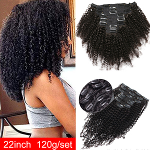 Kinky Curly Clip ins Maxine Hair Afro Kinky Curly Clip in Human Hair Extensions 120g/set Human Hair clip in extensions full Head