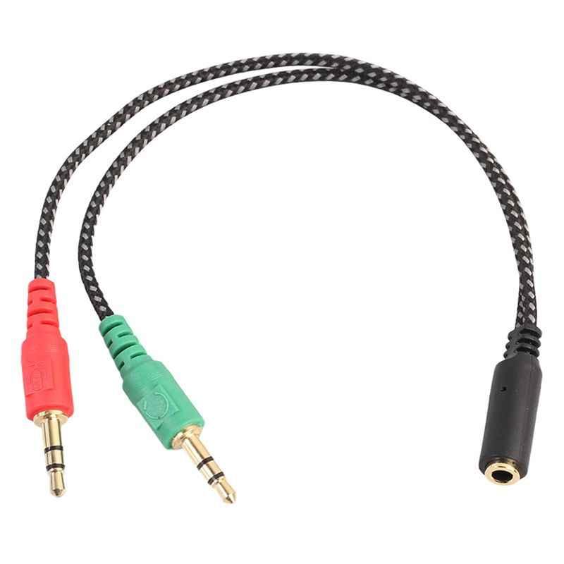 AAAE أعلى-مفرق سماعة رأس للكمبيوتر ، سماعة محول ل PC الصوت وهيئة التصنيع العسكري ، 3.5 مللي متر الإناث إلى ثنائي 3.5 مللي متر الذكور