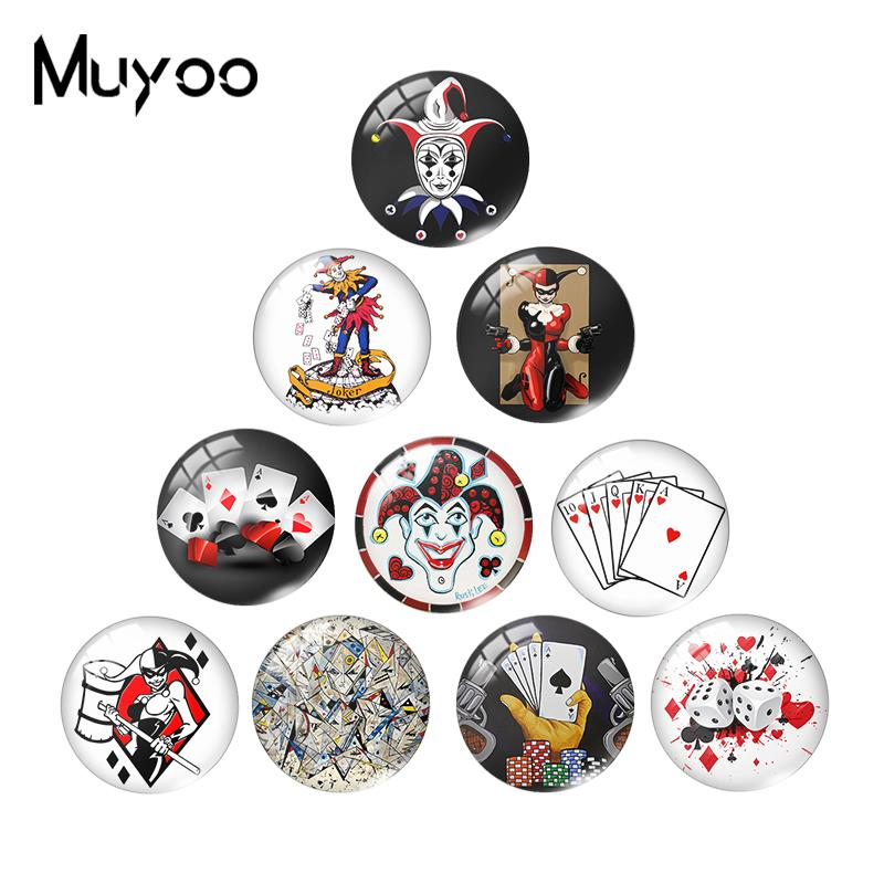2019 New Joker Carl Glass Dome Cabochon Harley Quinn Card Cabochons Art Round Hand Crafy Jewelry