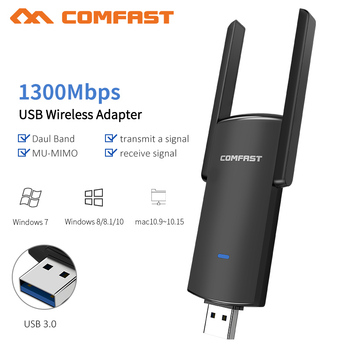 1300Mbps 5GHZ 2.4Ghz Dual Band USB Wireless Wifi Adapter RTL8812BU Wi-fi Network LAN Card PC Wifi Receiver 2*2dbi Wifi Antenna
