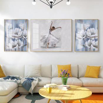 Prosta nordycka błękitna kwiat ręcznie malowany obraz olejny tekstura piękna kobieta taniec plakat światło luksusowe tło ściana tanie i dobre opinie WXPYU CN (pochodzenie) Wydruki na płótnie Połączenie wielu obrazów PŁÓTNO Wodoodporny tusz abstrakcyjne bez ramki