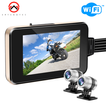 Motorcycle Camera Waterproof Full Body Motorcycle DVR Dash Cam WiFi 1080P FHD Front Rear 140℃ Touch Screen Motorcycle DVR GPS