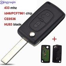 Jingyuqin Vragen 2 Knoppen Afstandsbediening Flip Auto Sleutel Voor Peugeot 207 307 308 407 Voor Citroen 433Mhz PCF7961 HU83 ID46 CE0536 Met Logo