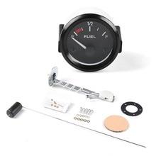 12V 52mm Kit Fuel Level Gauge Meter Automotive Gauges White Light Black Background Car Truck цена и фото