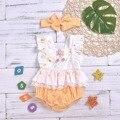Сладкий цветочный кружевной отделкой короткий рукав для маленьких девочек комбинезон и повязка на голову в горошек комплект для маленьких ...