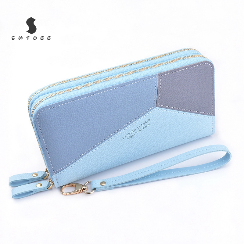 Casual Plaid Women Long Wallet Quality Double Zipper PU Leather Money Clutch Bags Large Purses For Coin Cash Card Holders