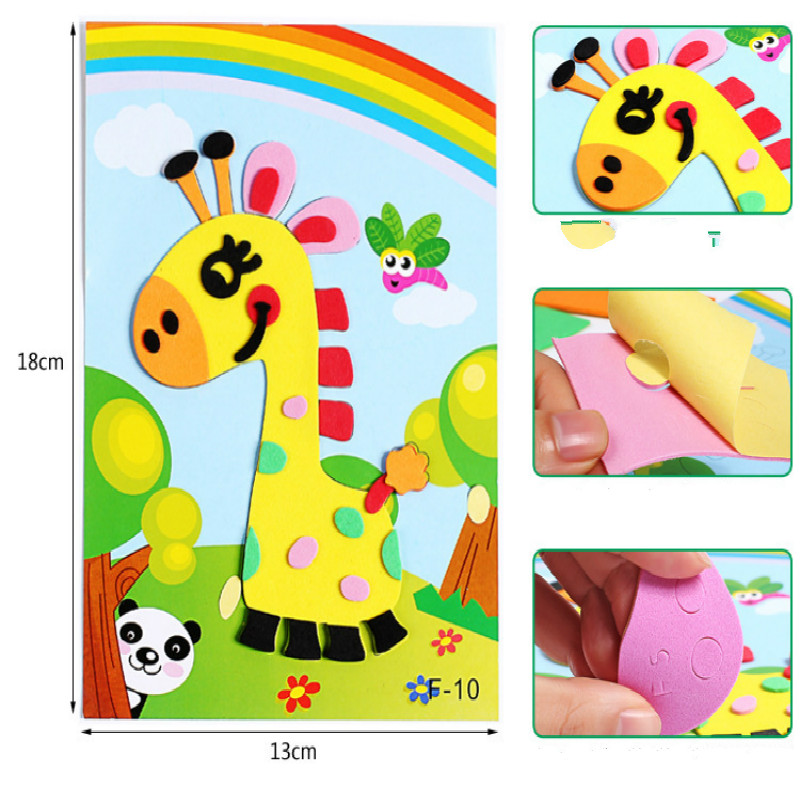 Children's Cartoon 3D Handmade Eva Stickers Diy Three-dimensional Puzzle 3d Educational Toys For Children Soft Toys