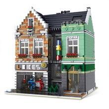 3668pcs Street View Series Bike Shop House modello Building Block città gelateria negozio mattoni Set bambini giocattoli per bambini regali