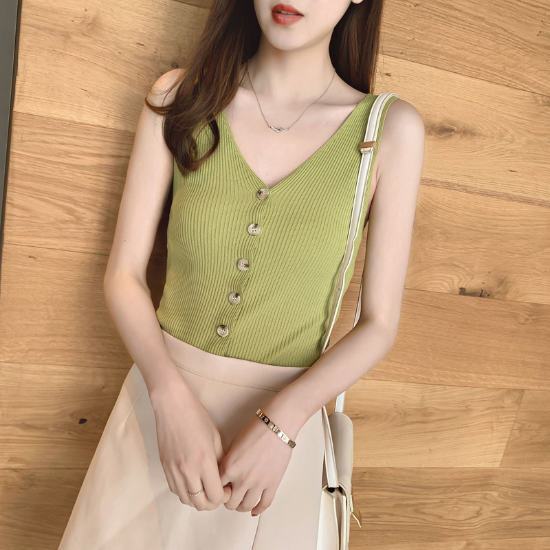 2019 New Arrived Summer Womens Vest V Neck thin ice silk knitted  button up v-neck sexy top