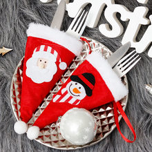 Mini Christmas Hat Fork Knife Cover Christmas Home Decorations Santa Claus Snowman Hat Tableware Holder Bag for Xmas Party Decor(China)