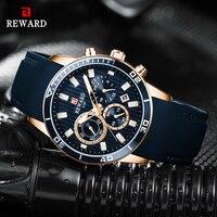 Nagroda męskie zegarki Top marka luksusowy niebieski zegarek kwarcowy chronograf mężczyźni silikonowy wodoodporny data Sport Wrist Watch człowiek mężczyzna zegar w Zegarki kwarcowe od Zegarki na