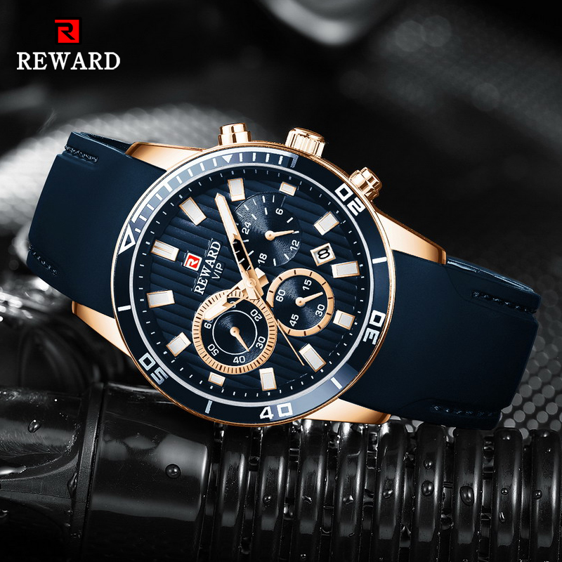 REWARD Mens Watches Top Brand Luxury Blue Quartz Watch Chronograph Men Silicone Waterproof Date Sport Wrist Watch Man Male Clock