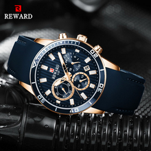 REWARD Mens Watches Top Brand Luxury Blue Quartz Watch Chronograph Men Silicone Waterproof Date Sport Wrist Watch Man Male Clock цена и фото