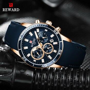 цена на REWARD Mens Watches Top Brand Luxury Blue Quartz Watch Chronograph Men Silicone Waterproof Date Sport Wrist Watch Man Male Clock