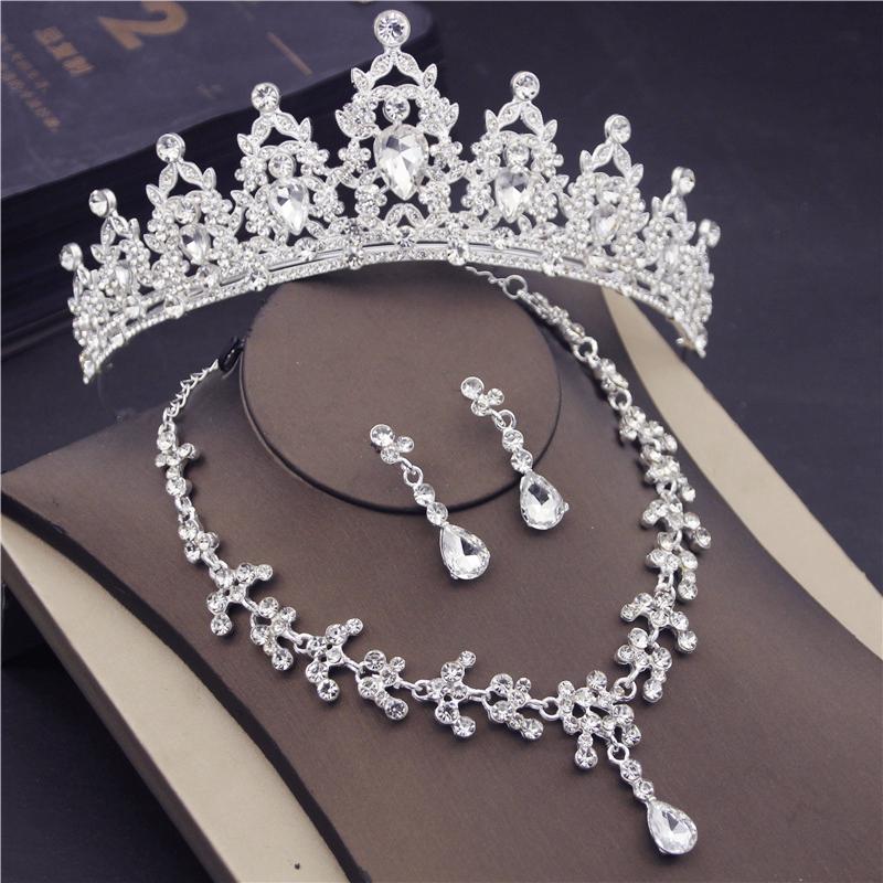 Fashion Bridal Jewelry Sets Crown Earrings Necklace Set for Women Fashion Jewelry Princess Tiaras Headbands Wedding  Accessories