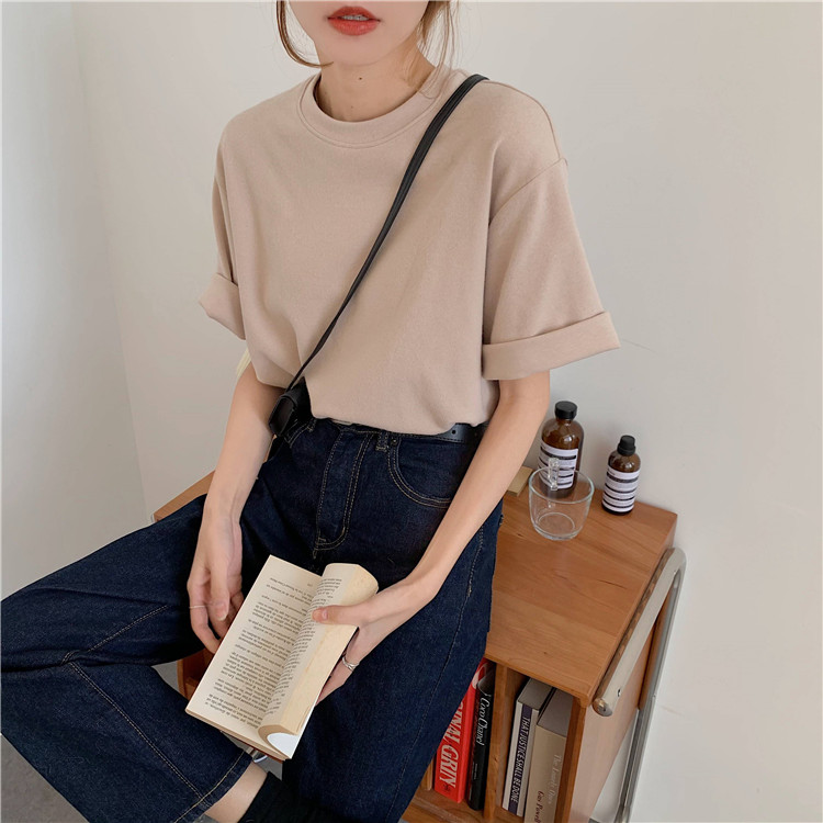 H267faa7ebf0b4d0599eb7e053f885601b - Summer O-Neck Short Sleeves Cotton Basic Solid T-Shirt