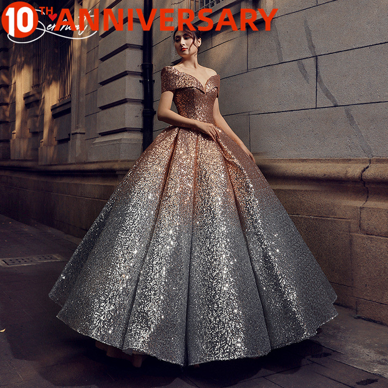 OllyMurs European And American Prom Dress 2019 New Summer Gradient Slim Slimming Performance One Word Shoulder Dress Supply