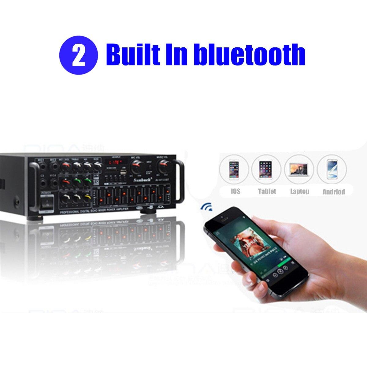 5,0 bluetooth 2000W 110V 220V Audio Power Verstärker Heimkino Verstärker mit Fernbedienung Unterstützung FM USB SD Karte 4 Micro