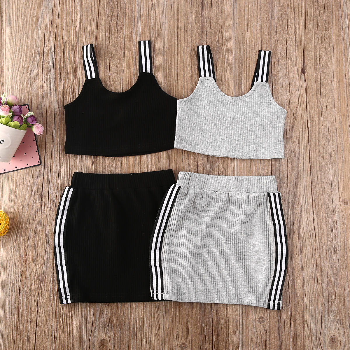 Pudcoco US Stock 0-5 Years Fashion Toddler Kid Baby Girl Dress Set Vest Tank Top Solid Skirt Summer Outfits Clothes