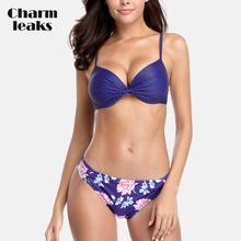 Charmleaks Women Bikini Set Vintage Floral Print Swimsuit Sexy Swimwear Push Up Bathing Suit Beachwear