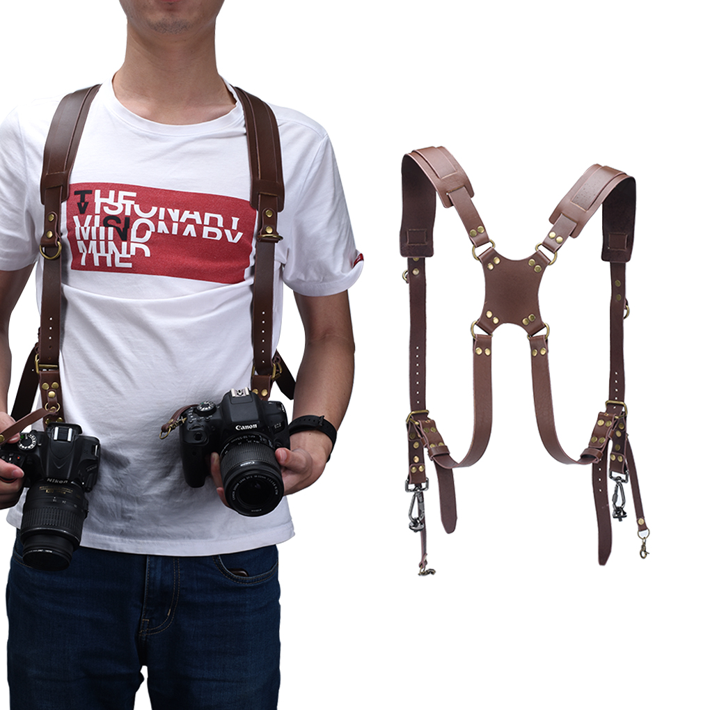 Camera Adjustable Double Shoulder Leather Harness Camera Shoulder Strap Photography Accessories