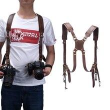 Kamera ayarlanabilir çift omuz deri koşum kamera omuz askısı fotoğraf aksesuarları