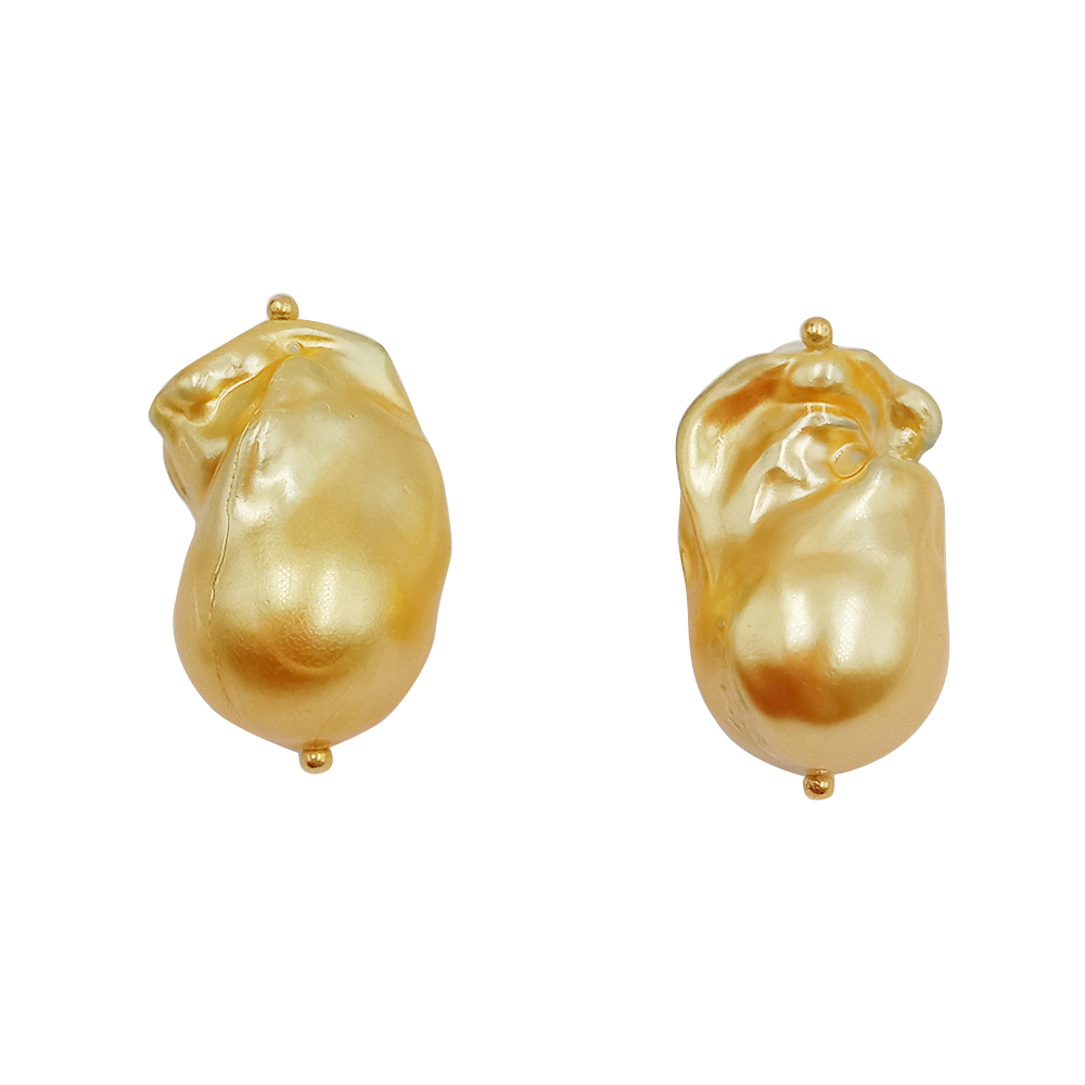 Fashion Real Golden PEARL 925 Silver Stud EARRING,100% Freshwater Pearl,AA Big Baroque  Pearl 13-16 Mm,925 Silver Hook