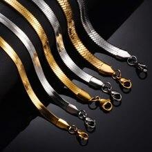 Collier plat en acier inoxydable pour hommes, largeur 2/2, 5/3/4/5/6mm, doré, chaîne serpent étanche, bijoux cadeau non allergène
