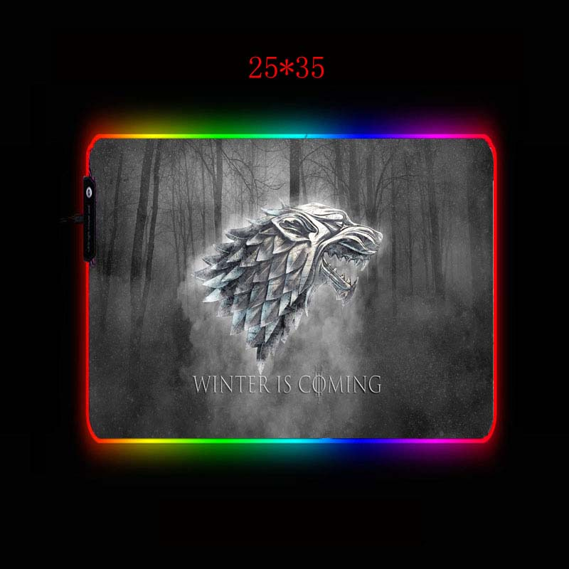 XGZ Winter Is Coming Logo RGB Gaming MousePad Large Computer Mouse Pad Gamer XXL Mousepad Backlight Mause Pad Keyboard Desk Mat 2