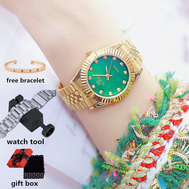 Bs Bee Sister Gold Woman Watches 2020 Famous Luxury Brand Elegant Ladies Wrist Watches Steel Female Clock Montre Femme 2020