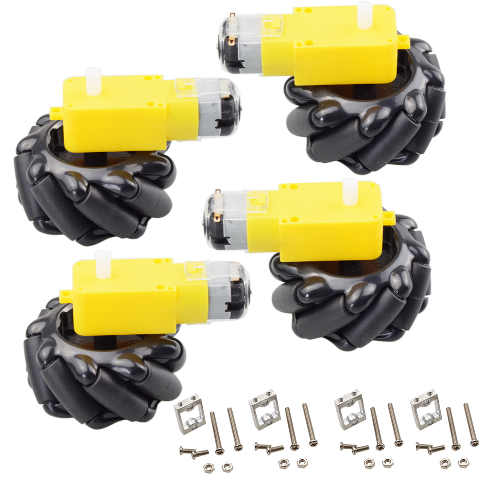 4pcs 60mm Mecanum Omni Wheel+ 4pcs TT Motor+ 4pcs TT Motor Bracket For Arduino DIY Project Raspberry Pi Stem Toy RC Parts