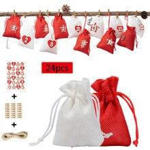 Сумка для конфет с рождественским узором 1-24, набор с адвентом календарем, хлопковый льняной Подарочный пакет, Calcetines Navidad, рождественские подарки, сумки для подарков