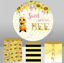 Милая пчела круглый фон Подсолнух детский день рождения Декор