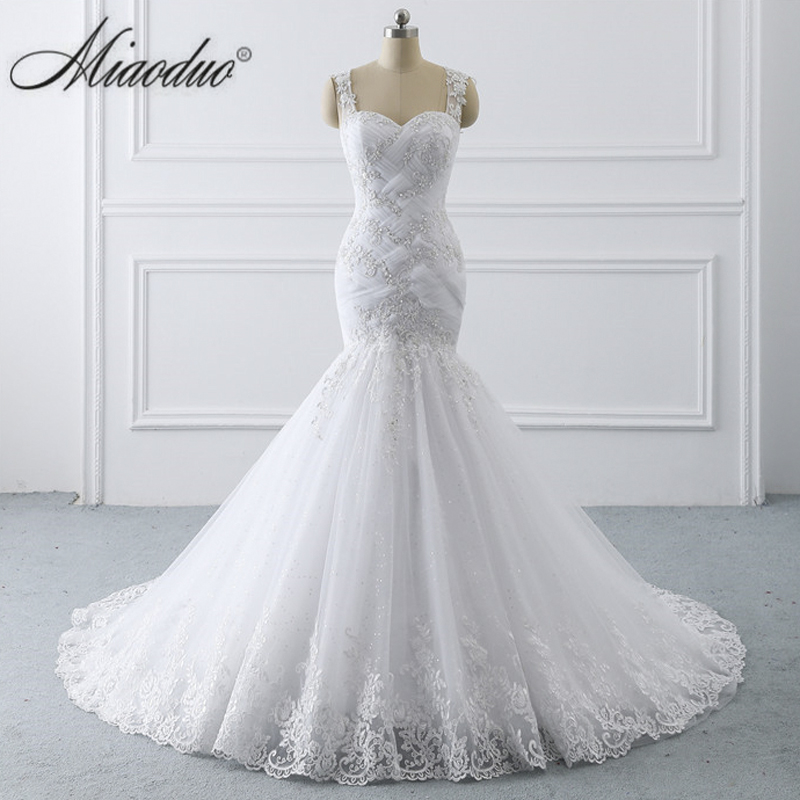 Miaoduo vestidos de novia Tank Illusion Back Appliques Tulle Bridal Gowns Long Robe de mariage Ghana New Mermaid Wedding Dress-in Wedding Dresses from Weddings & Events    1