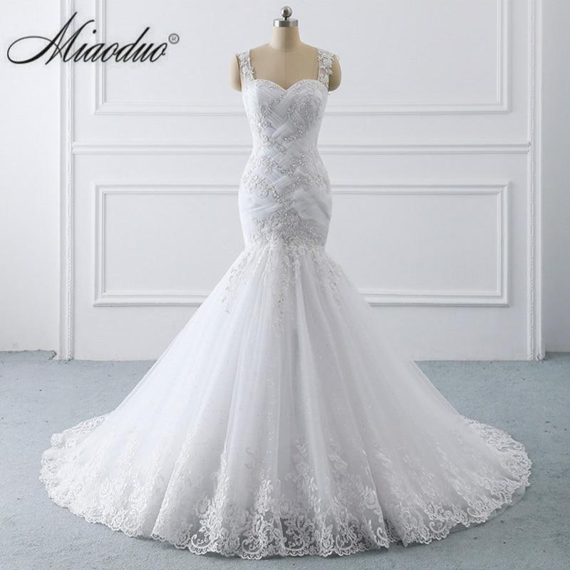 Miaoduo Vestidos De Novia Tank Illusion Back Appliques Tulle Bridal Gowns Long Robe De Mariage Ghana New Mermaid Wedding Dress