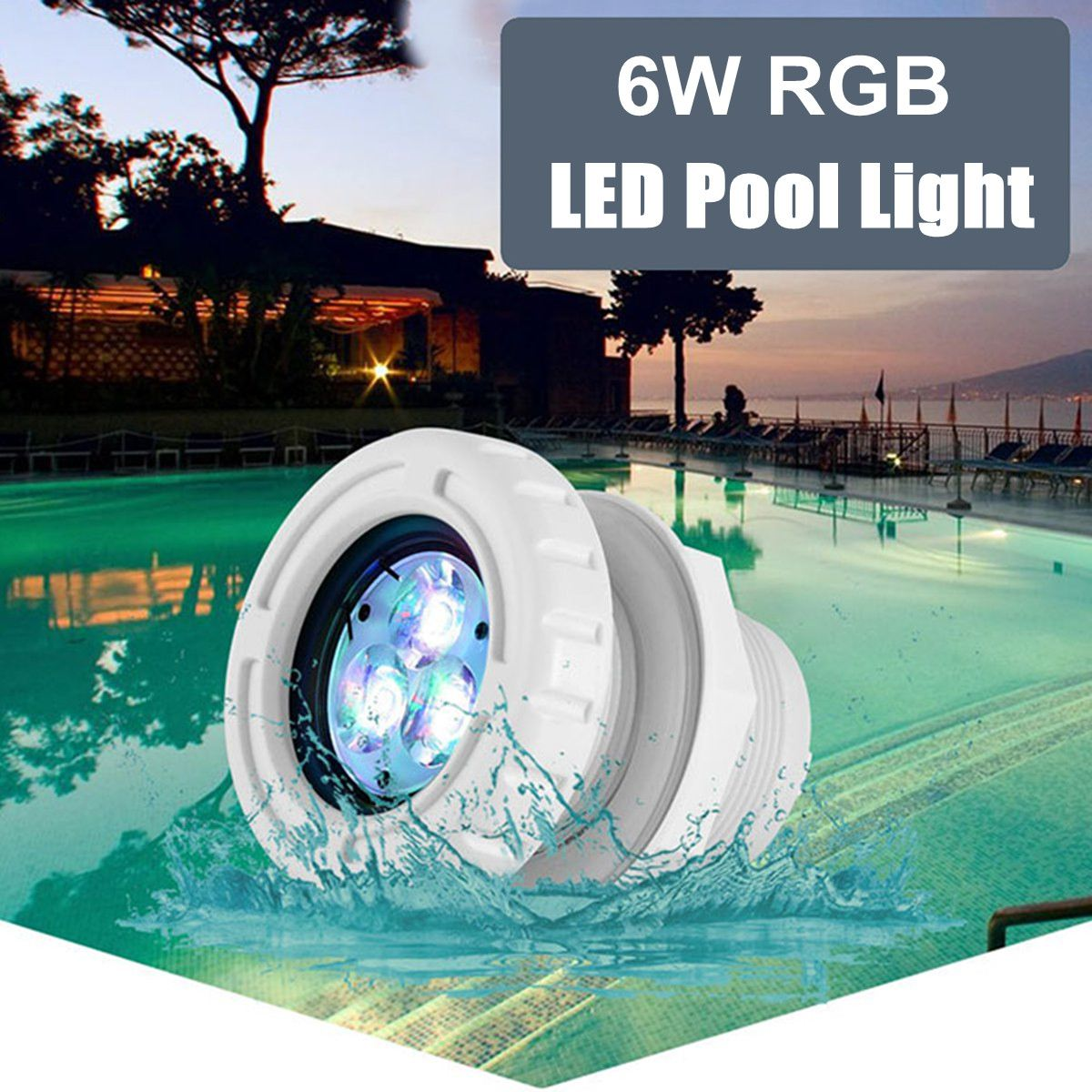 6W 12V AC 3 LED Recessed Swimming Pool Lights Spa RGB White Color Fountain Lamp Underwater Lamp Swimming Spa Pool Lighting Decor