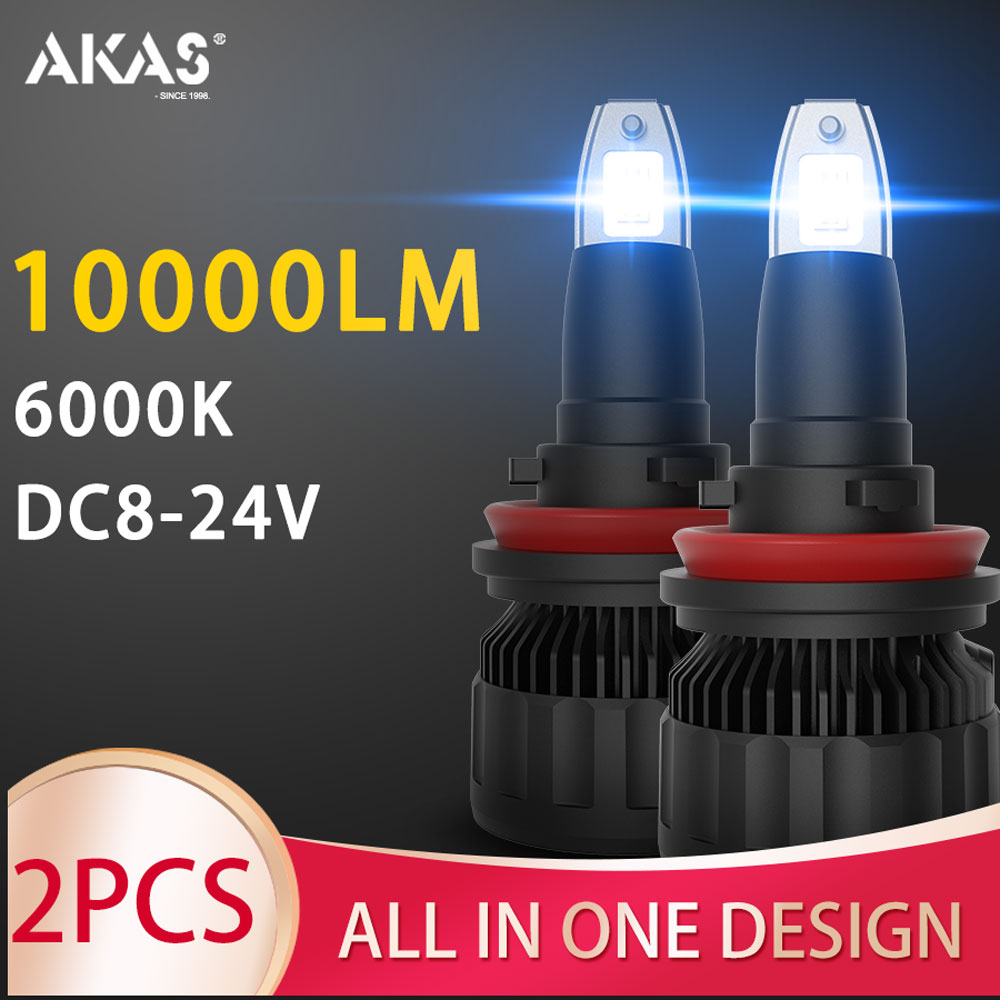 AKAS LED Headlight Kit 70W 10000LM Hi Or Lo Beam 6000K White H1 H3 H4 H7 H11 9005 9006 9012 LED Bulbs