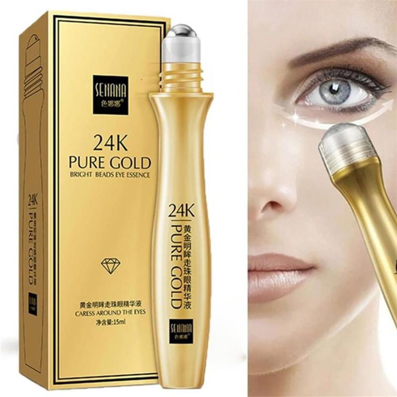 24K Gold Bright Eye Roller Eye Cream Hydrating Moisturizing Anti-Puffines Removal Dark Circles Eye Serum Eye Care 15ml