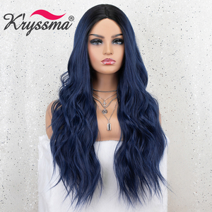 Image 3 - Kryssma Ombre Blue Wig Mixed Black Long Wavy Synthetic Wigs For Women Cosplay Wigs High Temperature Fiber Hair Wig