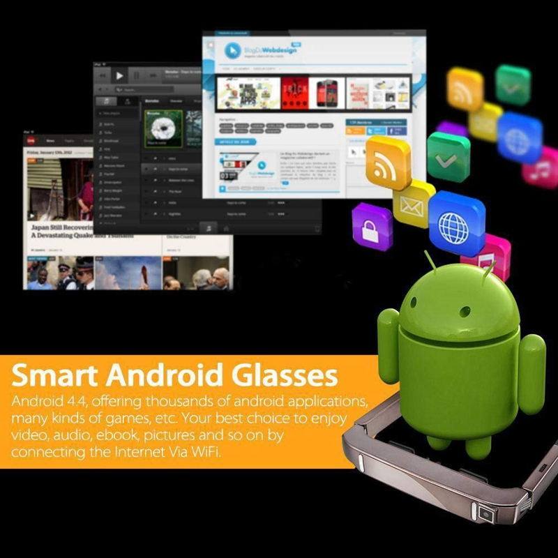 VISION 800 Smart Android WiFi lunettes 80 pouces large écran Portable vidéo 3D lunettes théâtre privé avec caméra Bluetooth médias - 6