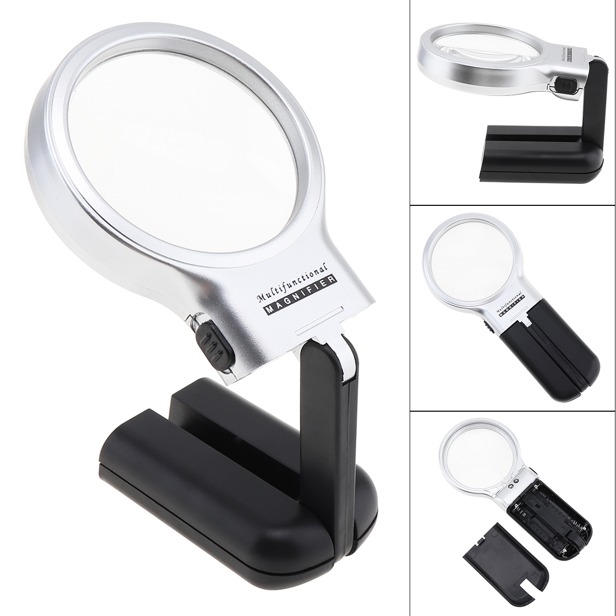 Multifunctional Desktop Handheld Magnifier Jewelry Loupe Adjustable Angle Reading Watch Repair Magnifying Glass LED Desk Lamp
