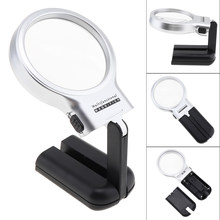 Multifunctional Desktop Handheld Magnifier Jewelry Loupe Adjustable Angle Reading Watch Repair Magnifying Glass LED Desk Lamp(China)