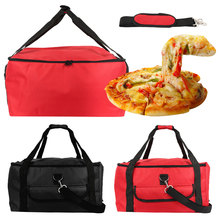 16 inch Insulated Pizza Bag Portable Cooler Bag Thermal Lunch Picnic Box Fresh Food delivery Container Waterproof Insulated Bag 17 5inch food delivery bag insulated pizza bag promotional large thermal cooler bag food container outdoor black 600d 45x35x30cm