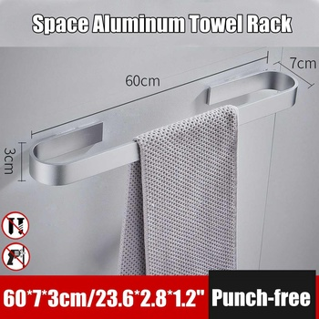 Aluminum Sliver Towel Bar Single Towel Rack Bathroom Matte Black Wall Mounted Towel Holder 25/45/60cm|Towel Bars| |  -