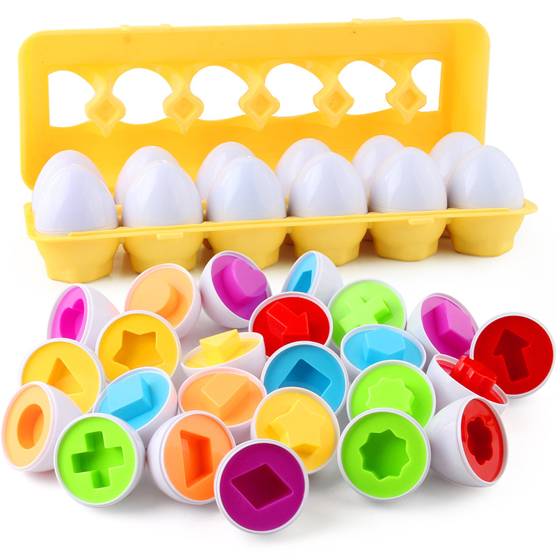 12pcs Montessori Learning Education Math Toy Smart Eggs Puzzle Toys 3D Screw Nut Building Block Boy Girl Jigsaw Mixed Shape Gift