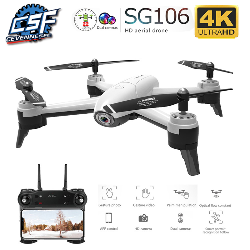 Drone SG106 WiFi FPV RC Drone 4K Camera Optical Flow 1080P HD Dual Camera Aerial Video RC Quadcopter Aircraft Quadrocopter Toys|RC Helicopters| |  - title=