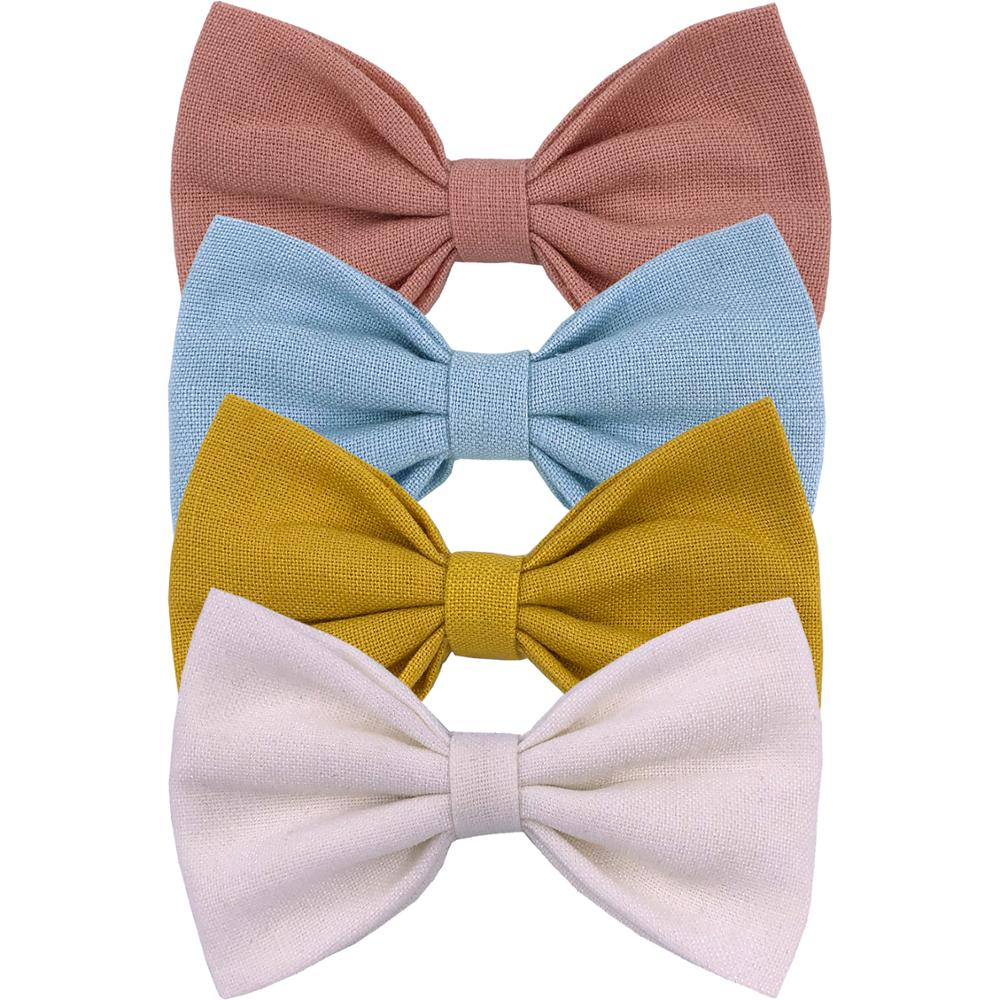4 PCS Baby Girls Cotton Fabric Hair Bow Clips Classical Bow Barrettes Hairpins Baby Toddler Kids Headwear Hair Accessories