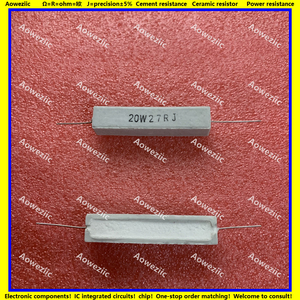 Image 1 - 10Pcs RX27 Horizontal cement resistor 20W 27 ohm 20W 27R 27RJ 20W27RJ 27ohm Ceramic Resistance precision 5% Power resistance