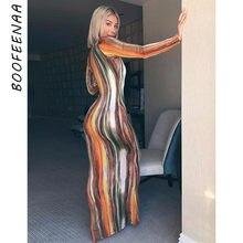 BOOFEENAA – robe Maxi à rayures, imprimée, Sexy, manches longues, boîte de nuit, moulante, printemps, 2021, C70CC31